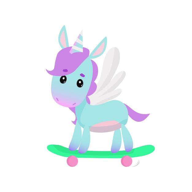 Cute unicorn on skateboard Free Vector