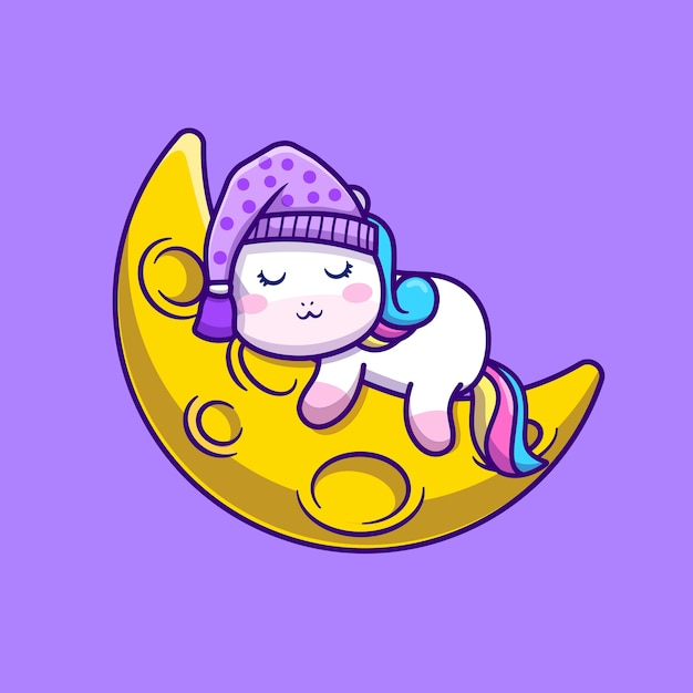 Милый единорог, спать на луне мультфильм векторные иллюстрации. концепция животного пространства изолированных вектор. плоский мультяшном стиле Бесплатные векторы