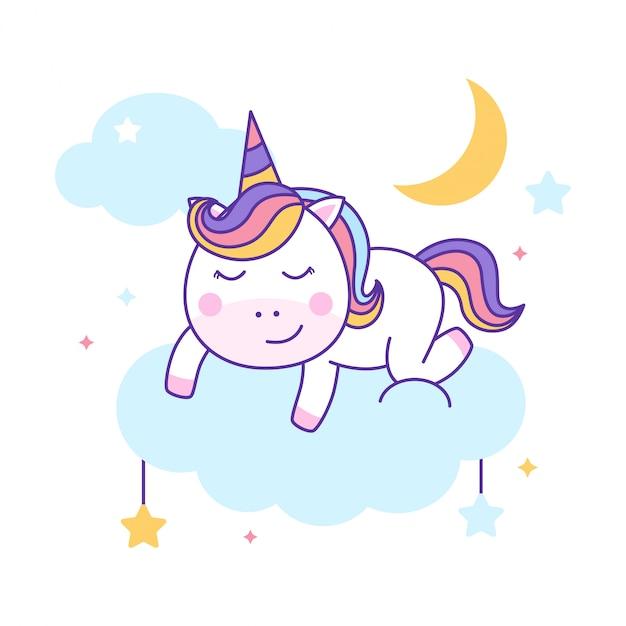 Cute unicorn sleeping Premium Vector