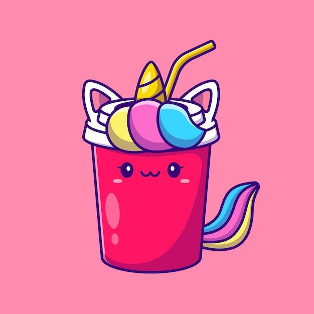 귀여운 유니콘 소다 만화 그림. 절연 동물 음료 개념입니다. 플랫 만화 무료 벡터