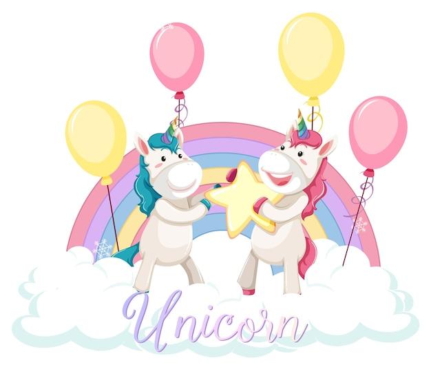 Unicorno carino in piedi sulla nuvola con arcobaleno pastello isolato Vettore gratuito