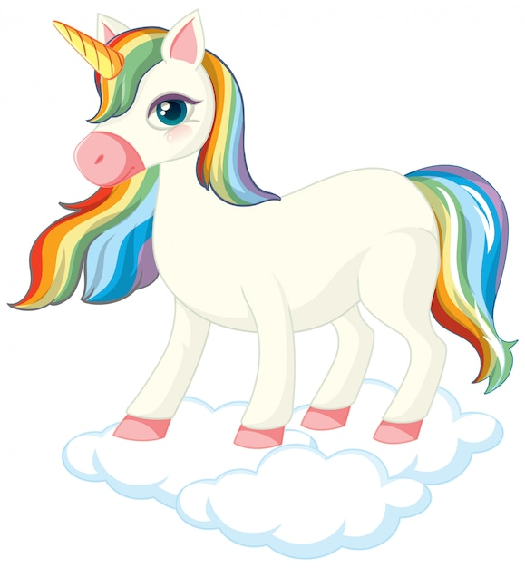 Cute unicorn standing on cloud Free Vector