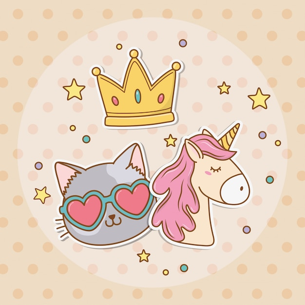 Cute unicorn sticker kawaii style Premium Vector