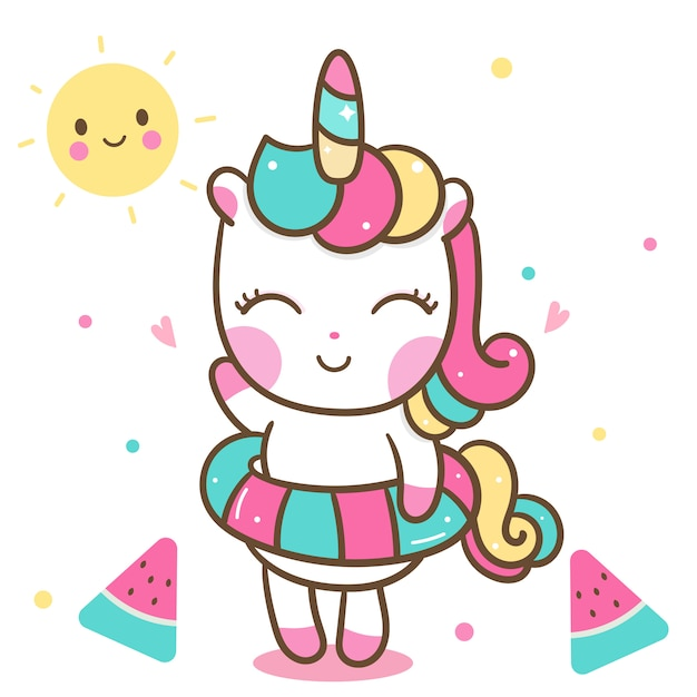 Cute unicorn in summer holiday Vector | Premium Download