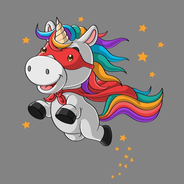 Cute unicorn super hero cartoon, flying in the sky, hand drawn Premium Vector