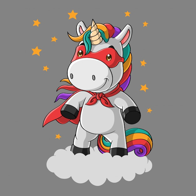 Cute unicorn super hero cartoon in the sky, hand drawn Premium Vector