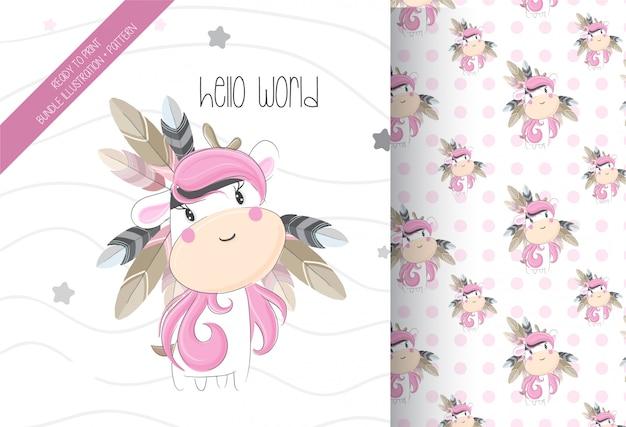 Cute unicorn tribal with seamless pattern Premium Vector