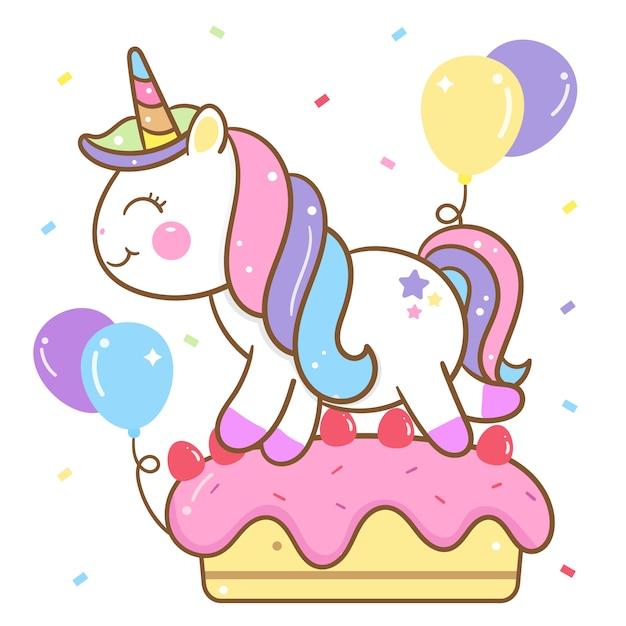 Cute unicorn vector on birthday cake Premium Vector