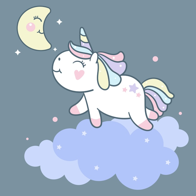 Cute unicorn vector on cloud and moon cartoon Premium Vector