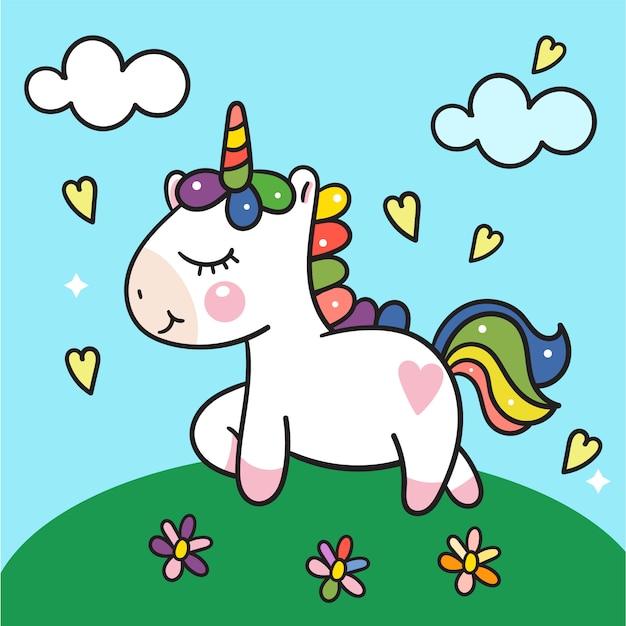 Cute unicorn vector on colorful garden Premium Vector