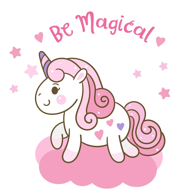 Cute unicorn vector on could with star Premium Vector