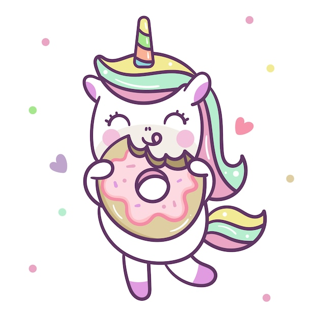 Cute unicorn vector eating donut Vector | Premium Download