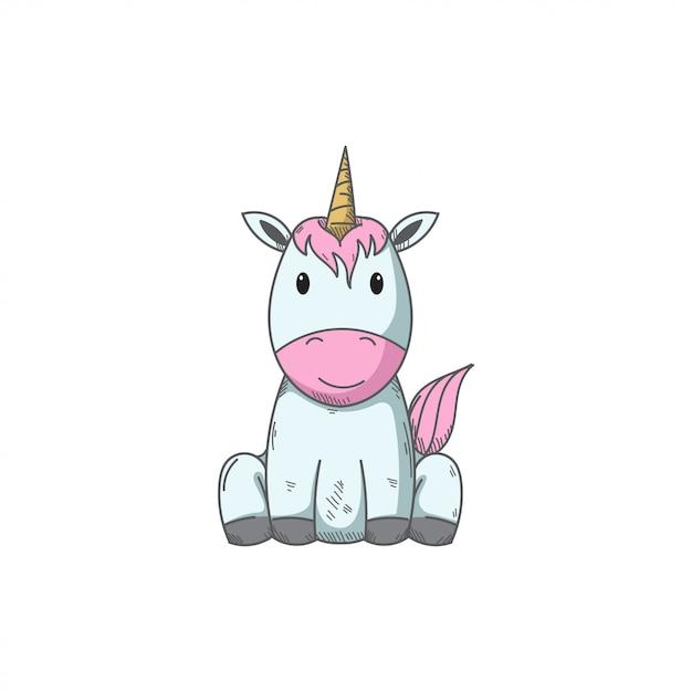 Cute Unicorn Vector Hand Draw Illustration Vector Premium