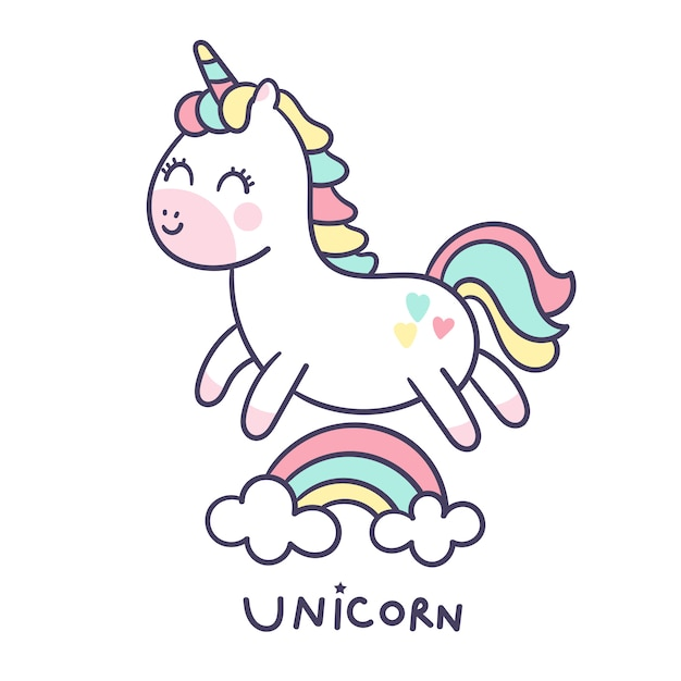 Cute unicorn vector hand drawn style Premium Vector