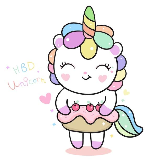 Cute unicorn vector holding birthday cake Premium Vector