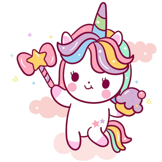 Cute unicorn vector holding cupcake and wand cartoon Premium Vector