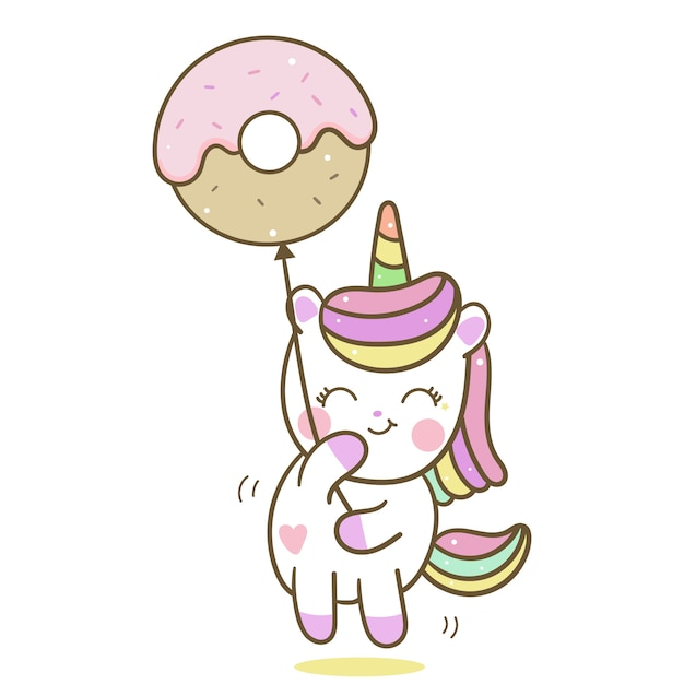 Cute unicorn vector holding donut balloon Premium Vector