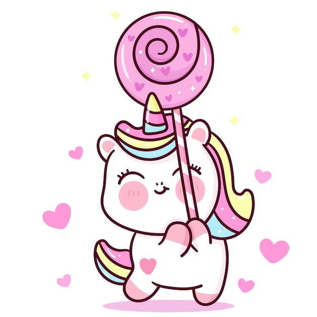 Cute unicorn vector holding love candy for valentines day kawaii animal Premium Vector