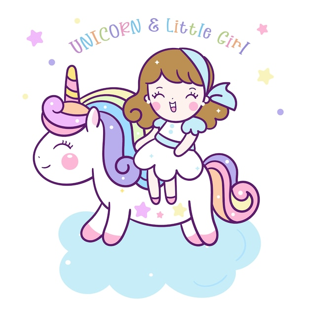 Cute unicorn vector and little girl cartoon Premium Vector