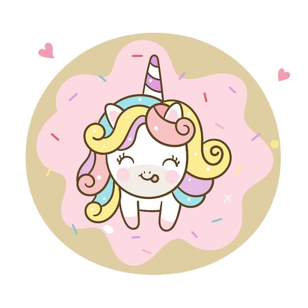 Cute unicorn vector and pastel donut Premium Vector