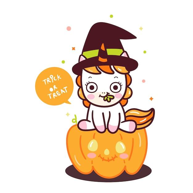 Cute unicorn vector on pumpkin cartoon Premium Vector