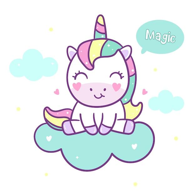 Cute unicorn vector sit on cloud Premium Vector