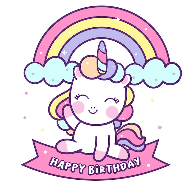 Cute unicorn vector sit on happy birthday label Premium Vector