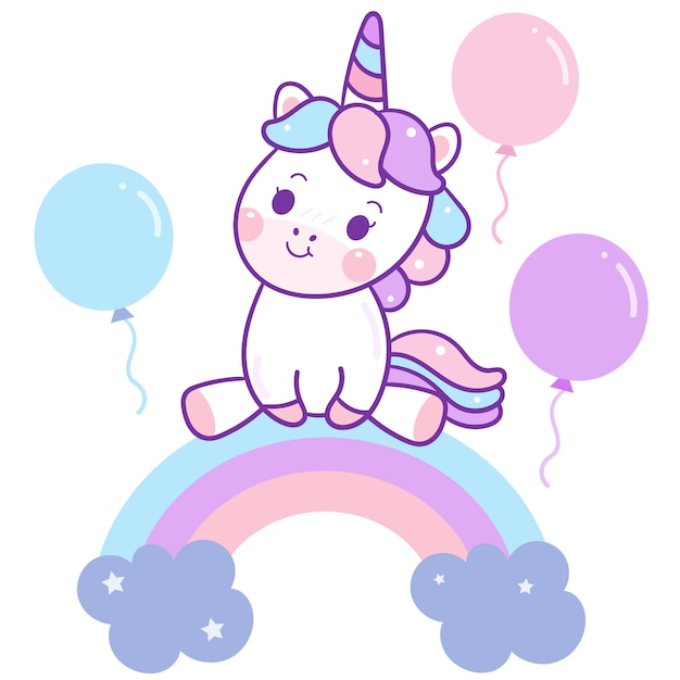 Cute unicorn vector sit on rainbow with air balloons Premium Vector