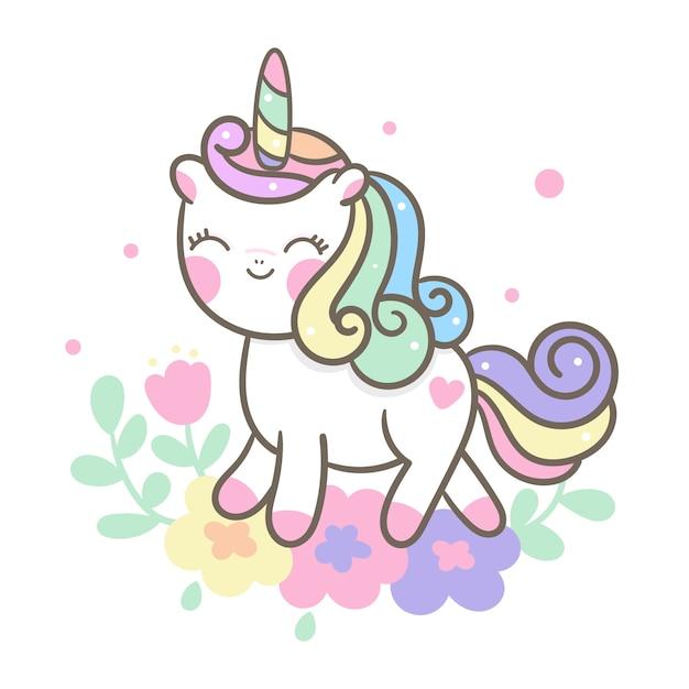 Cute unicorn vector with flower cartoon Premium Vector