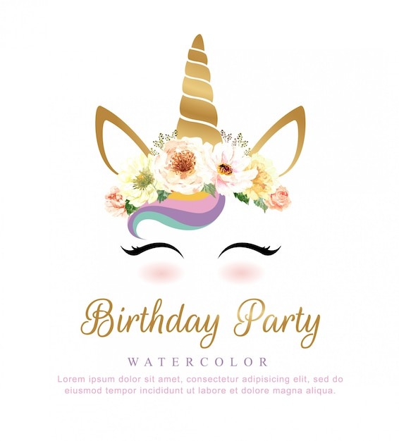 Cute unicorn watercolor with flower bouquet for birthday party. Premium Vector