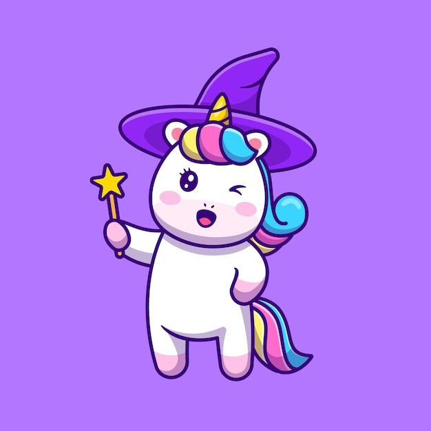 Cute unicorn witch holding wand magic star stick cartoon icon illustration Free Vector