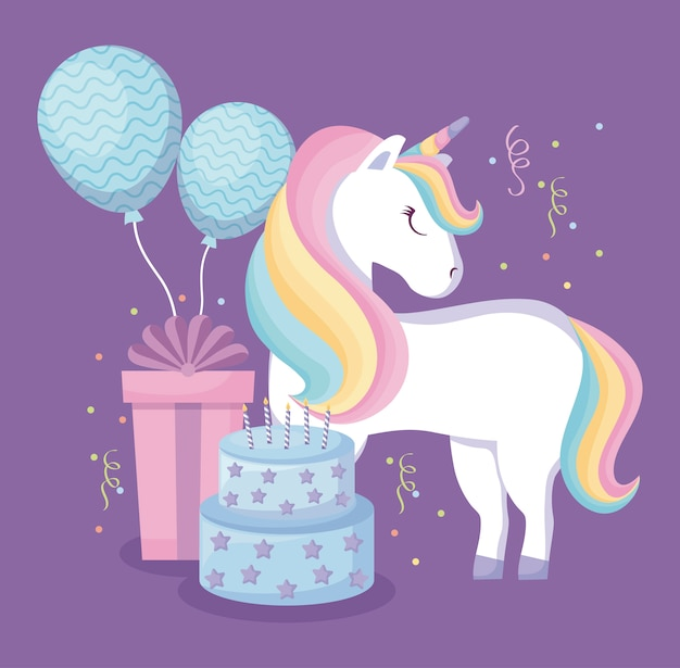 Cute unicorn with balloons helium and set icons Premium Vector