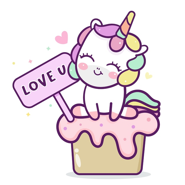 Strange Cute Unicorn With Birthday Cake Premium Vector Funny Birthday Cards Online Elaedamsfinfo