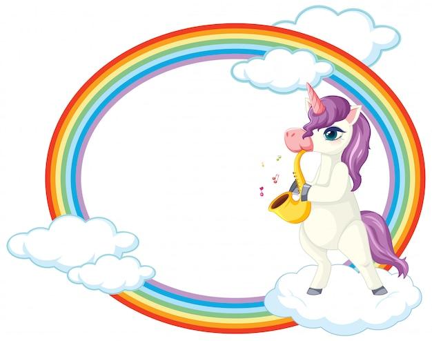 Unicorno carino con tema musicale banner bianco Vettore gratuito