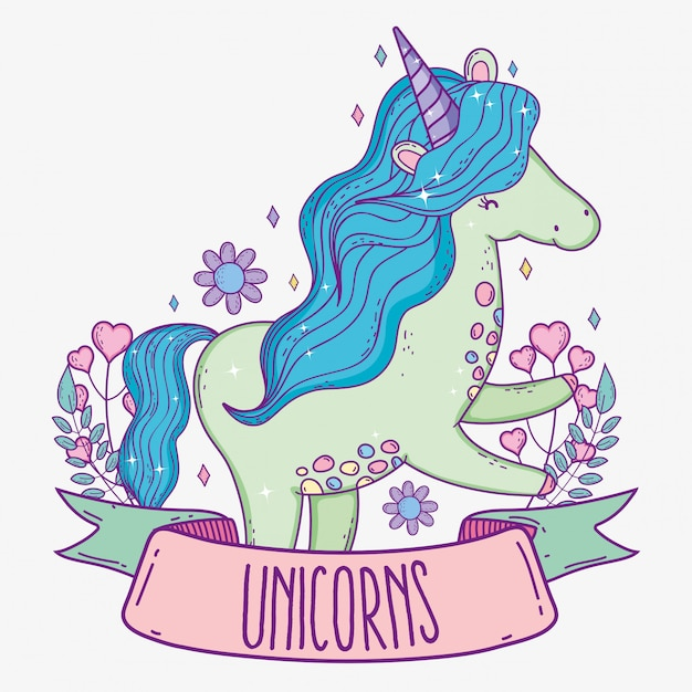 Cute unicorn with hearts and branches leaves Premium Vector