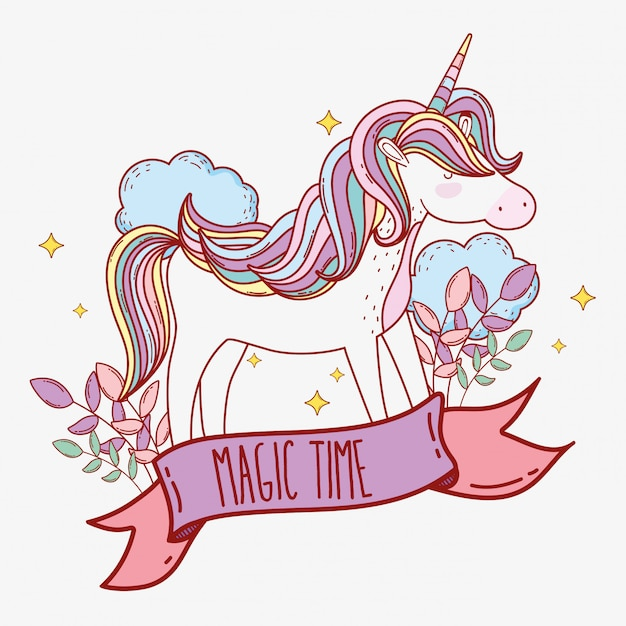 Cute unicorn with horn and clouds with plants Premium Vector