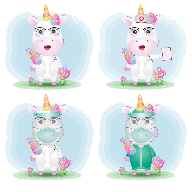 Cute unicorn with medical staff team doctor and nurse costume collection Premium Vector