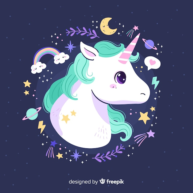 Cute unicorn with pastel color frame Free Vector
