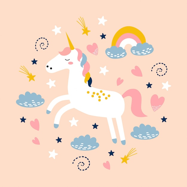 Cute unicorn with rainbow, cloud and stars. Premium Vector