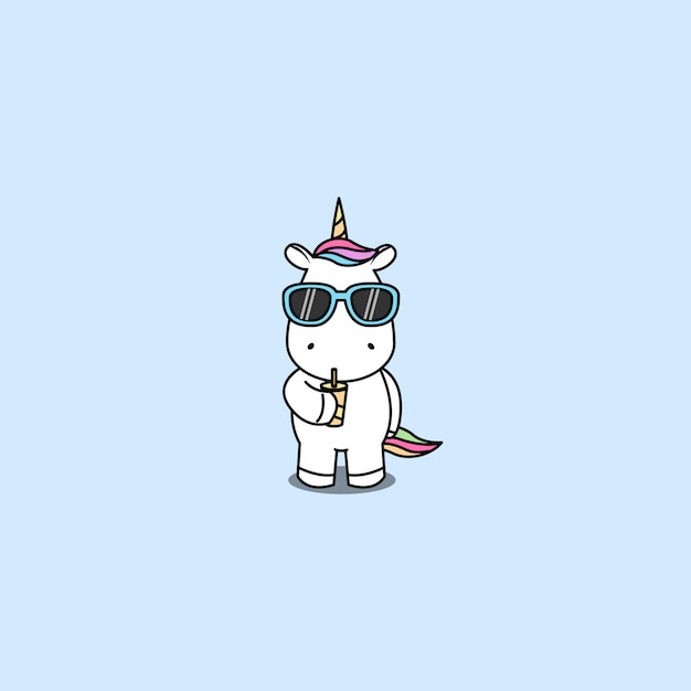 Cute unicorn with sunglasses drinking water vector Premium Vector