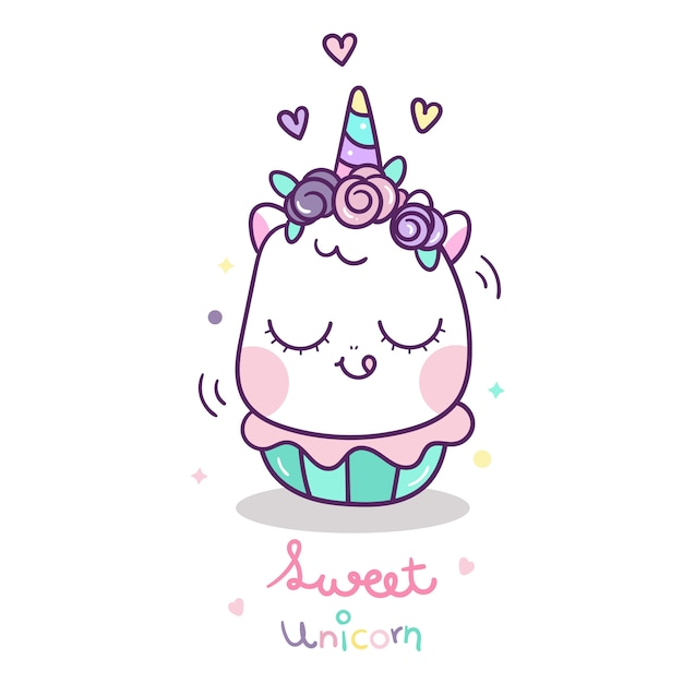 Cute unicorn with sweet cup cake cartoon Premium Vector