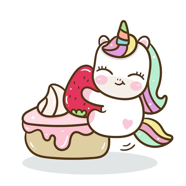Cute unicorn  yummy birthday cake Premium Vector