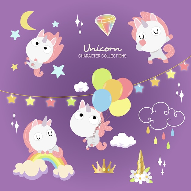 Cute unicorn Premium Vector