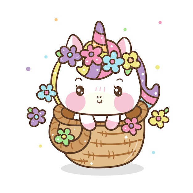 Cute unicorno in basket Premium Vector
