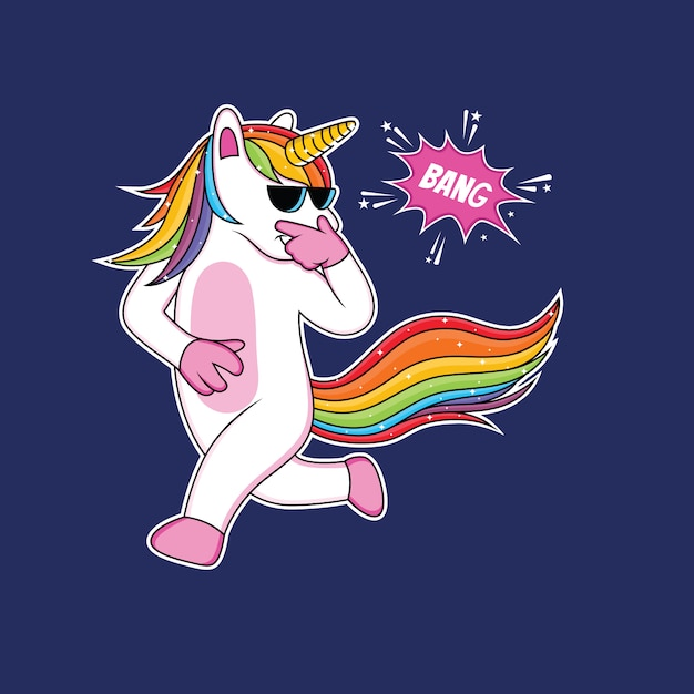 Cute unicorns cartoon are celebrating with funny style Premium Vector