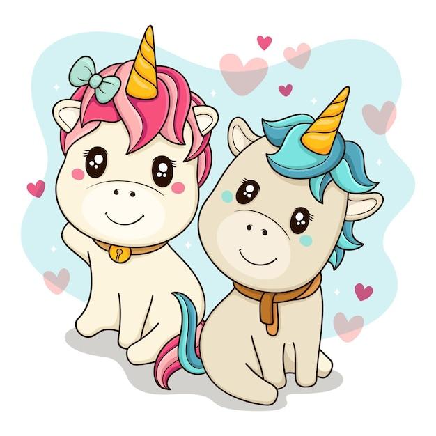 Cute unicorns couple illustrated Free Vector