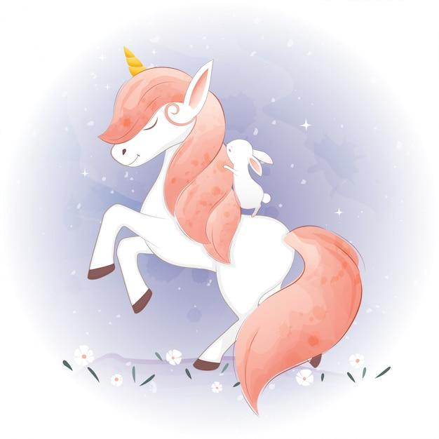 Cute unicorns and his friends Premium Vector