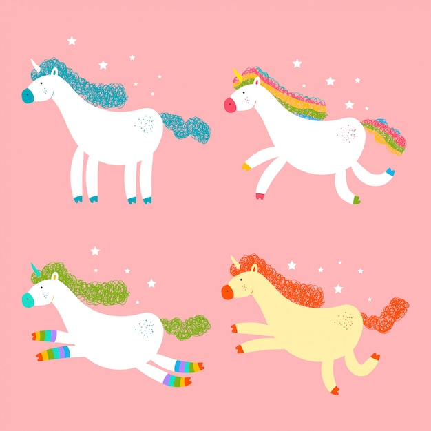 Cute unicorns vector cartoon characters set isolated Premium Vector
