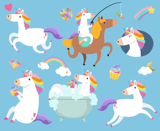 Cute unicorns with magic element stickers vector Free Vector