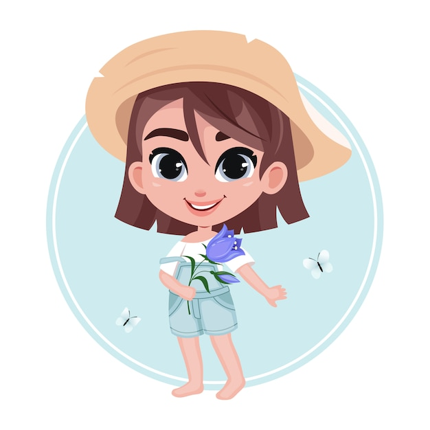 Cute unshod little girl character in hat holding flower on pastel blue background Premium Vector